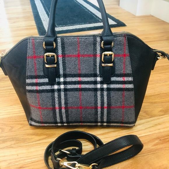 Charming Charlie black, Gray and red plaid handbag